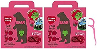 Bear Yoyo Fruit Roll Strawberry Multipack, 3.5 oz (Pack of 2) Bundled with 20ct Dental Flossers in a Prime Time Direct Sealed Bag