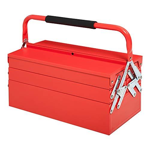 DURHAND Caja de Herramientas de Acero Plegable con 5 Compartimentos Maletín de Herramientas con Mango para Taller Hogar 45x22,5x34,5 cm...