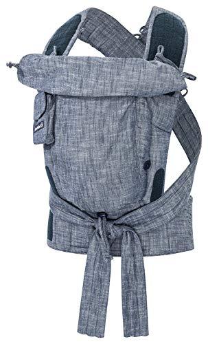 Bondolino Plus Babytrage ab Geburt Bauchtrage Rückentrage verstellbarer Steg, Design Denim