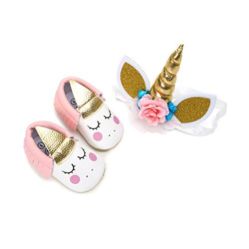 EDOTON Bébé Fille Chaussures de Licorne avec Bandeau Cadeau Ensemble pour Anniversaire Bambin Fille Semelle Souple Anti-dérapant Princesse Chaussures (0-6 Mois, B, Taille de l'étiquette 11)