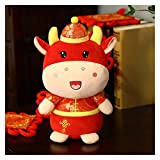 JSJJATQ Peluche 2021 Año Nuevo Chino Zodiaco Ox Bottle Ganado Toys Toy Tang Traje Leche Vaca Mascota Muñeca de Peluche Relleno para niños Regalo (Color : A, Height : 50cm)