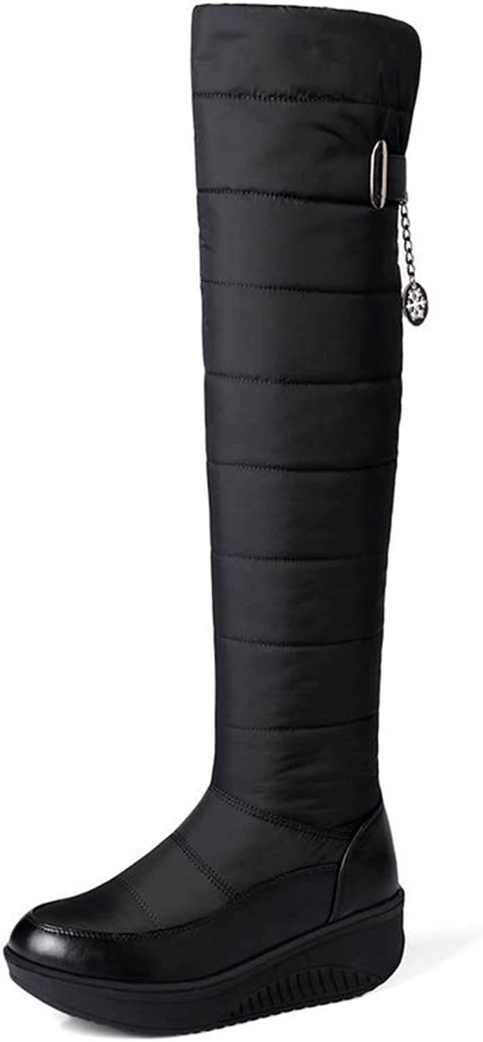 Ladies Snow Boots Women Boots Med Heels Winter Short Plush Boots Platform shoes Over The Knee Boots