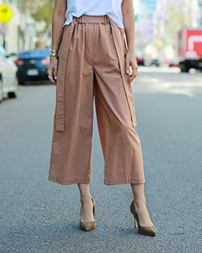 The Drop Women's Caramel Loose Fit High Rise Cropped Wide Leg Pant by @paolaalberdi