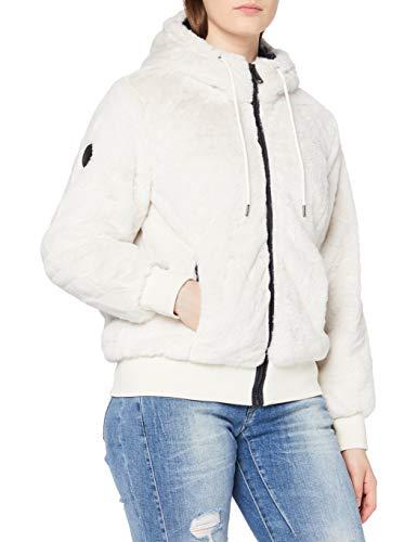 Superdry Womens Storm Premium FUR Cardigan Sweater, Antique Cream, 10