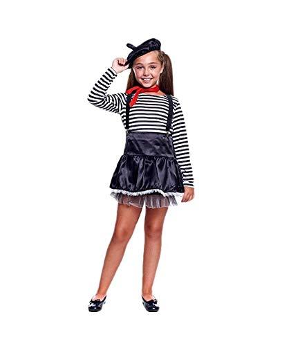 Disfraz Mimo Niña【Tallas Infantiles de 3 a 12 años】[Talla 3-4 años]  Disfraz Infantil Carnaval Profesiones Halloween Fiestas Disfraces Obras Teatro Actuaciones