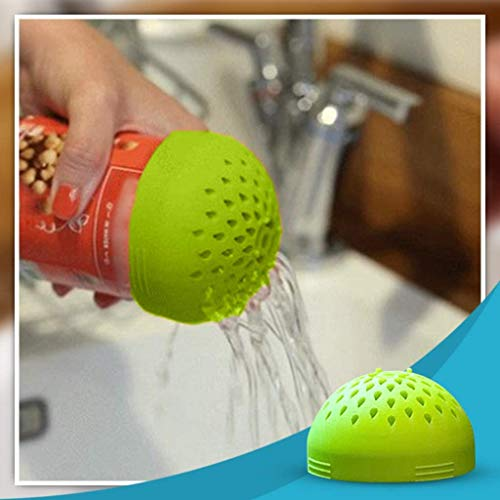 Multi-use Mini Colander, Micro Kitchen Colander Food Mesh Colander, Portable Mini Can Drainer, for Drain Chickpeas, Kidney Beans and Tinned Fruit - Quick Draining, Strain and Contain Food (Green)