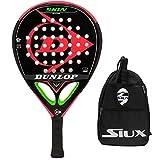 Pala Dunlop Skin Control Soft + Bandolera Siux / Palas de Padel para Mujer Hombre niño / Mejores Raquetas de pádel con Alto Control de golpeo de Pelotas / Marco de Carbono