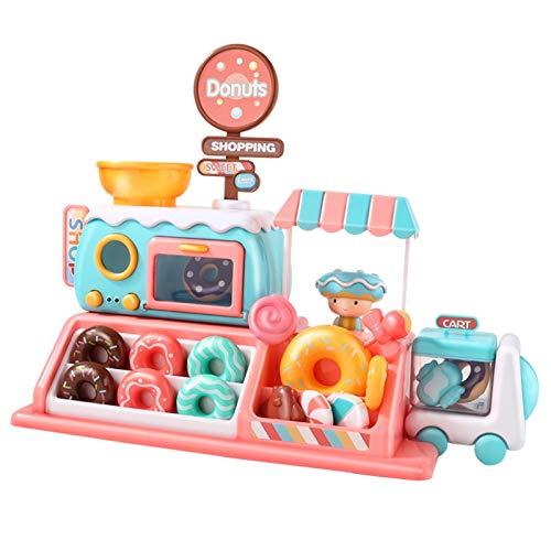 Carrito de helados Playsets Juego de juguetes para donas de microondas para niños con comida para jugar Juguetes de helado para interiores y exteriores Tienda de juegos Regalo para niños de 2 a 6 años