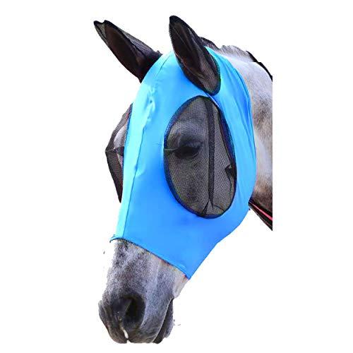 Cheval Masque Anti-Mouches, Masque en Lycra Horse Fly, Avec Protection Auditive, Maille pour yeux de cheval / cob / poney équestre en maille (Cheval / L, Bleu)