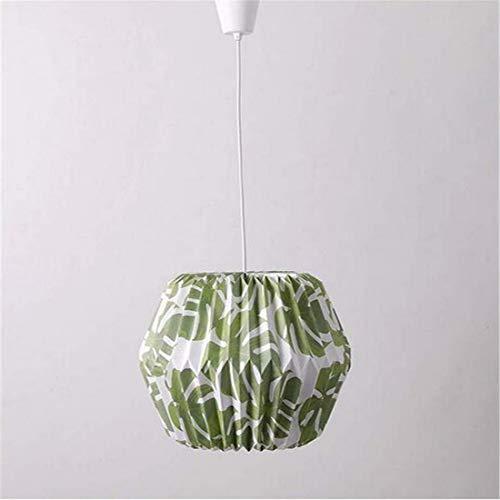 Origami Craft Hecho a mano Hojas verdes Patrón impreso Lámparas de papel Tonos con cordón Ajuste fácil para vivir Comedor Cama Cocina Habitación