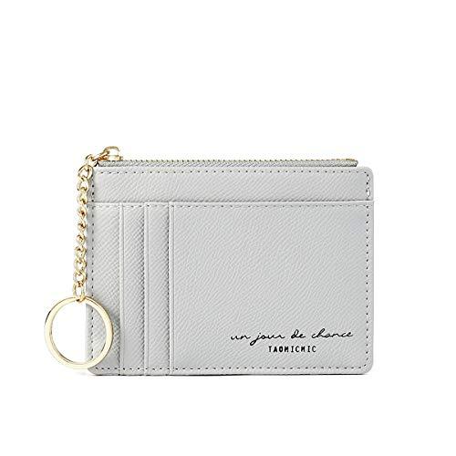 カードケース ミニ財布 薄型クレジットカードケース収納 シンプル カード入れ 小銭入れ1ポッチ 小さい 軽量 薄型 大容量 男女兼用 キーホルダー付