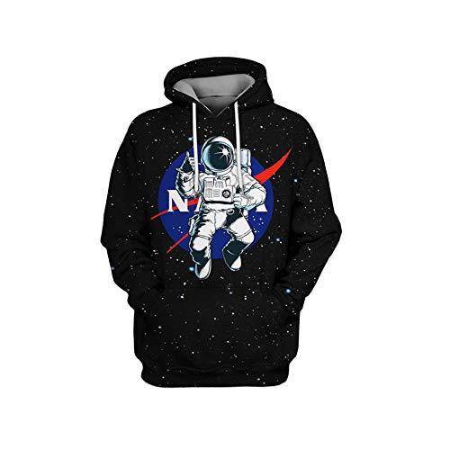 YHXF Unisexe Logo NASA Sweat À Capuche Astronaute De l'espace National pour Hommes Femmes Sweat À Capuche Cadeau Parfait,C,L