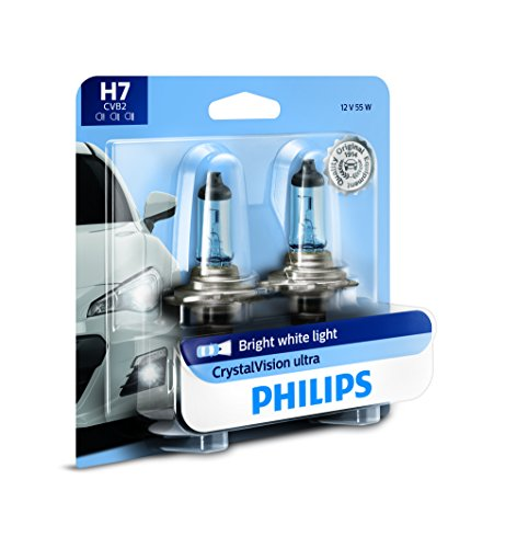 Philips H7 CrystalVision Ultra Upgraded Bright White Headlight Bulb, 2 count