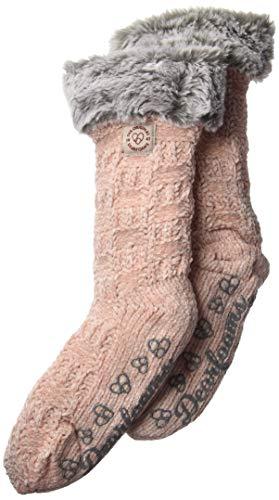 Dearfoams Damen Chenille Knit Blizzard Sock Slipper, rosa-Dusty pink, Einheitsgröße