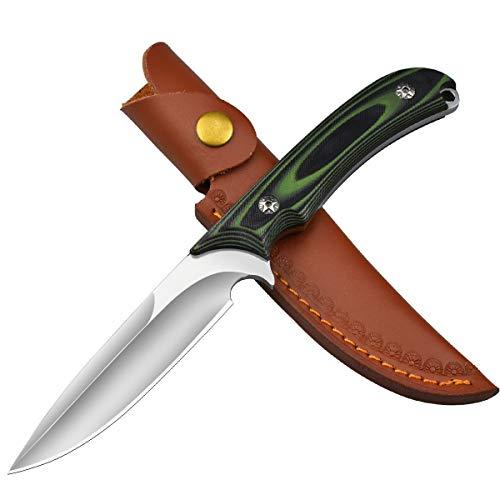 AUBEY Survival Messer Überlebensmesser Jagdmesser Outdoor Knife Camping Bushcraft Messer mit Lederscheide