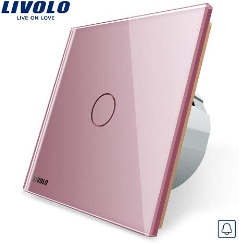 Livolo EU Standard, Door Bell Switch, Crystal Glass Switch Panel, 220250V Touch Screen Door Bell Switch,VLC701B1 2 3 5  (color  Pink)