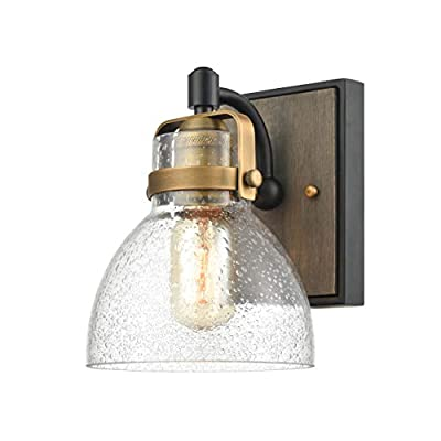 WILDSOUL Modern Farmhouse Glass Wall Sconce, LED Compatible Vintage Wood Rustic Bathroom Vanity Wall Light Fixture, Industrial Distressed Oak, Matte Black and Antique Brass Finish