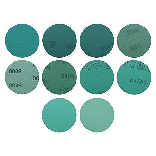 100Pcs 3-Zoll Nass und Trockenschleifpapier Disc Kit Klettverschluss 180-2000 Schleifen Polieren Schleifscheiben Schleifpapier für Schwingschleifer Multischleifer