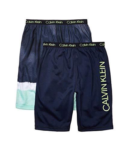 Calvin Klein Boys' Lounge Pajama Shorts, 2 Pack, Dipdye/Black Iris, 10-12