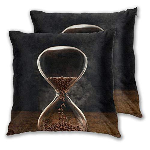 AEMAPE Fundas de Almohada cuadradas Suaves, Reloj de Arena en Grano de café, Paquete de 2 Fundas de cojín Decorativas, Fundas de Almohada para sofá, Dormitorio, Coche, 40 x 40 cm