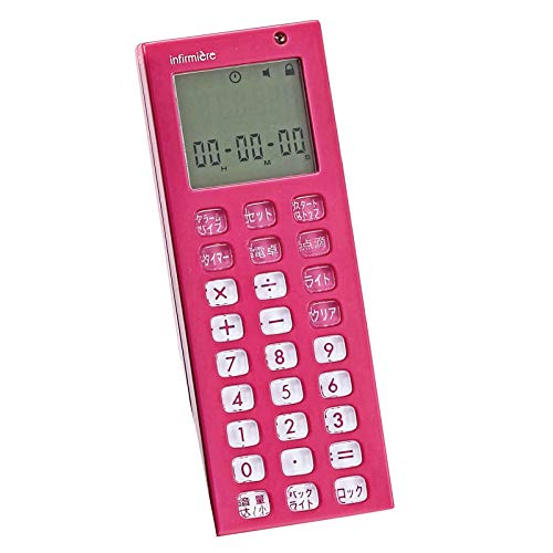[アンファミエ] 看護師用電卓 点滴タイマー dretec アンファミエ限定カラー バックライト ストラップ付き ピンク