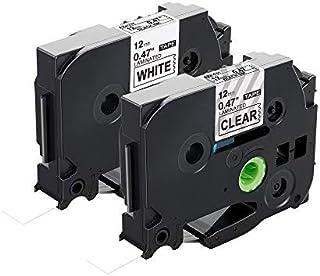 Airmall ピータッチ テープ12mm ブラザー工業 tzeテープ TZe-231 TZe-131 テープカートリッジ互換品 brother p-touch ピータッチ ラベルライター用 白地に黒文字+透明地に黒字 2個セット
