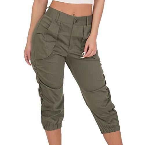Sunenjoy Cargo Pantalon Femme Grande Taille Sarouel Bouton Hipsters Harem Pants Bloomers Baggy Sport Running Fitness Jogging Pantacourt Taille Haute Poche Casual Mode Chic Leggings S-3XL