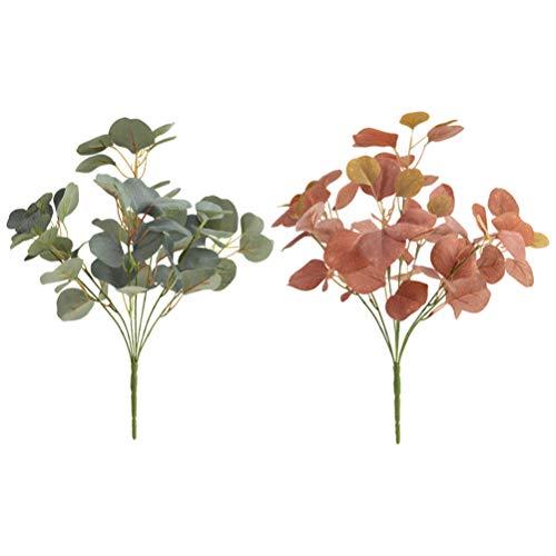 Garneck 2 Stks Kunstmatige Eucalyptus Robusta Bundel Simulatie Planten Gesponnen Zijde Planten Bloemstuk Woondecoratie Ornament Grijswit en Herfst Rood)