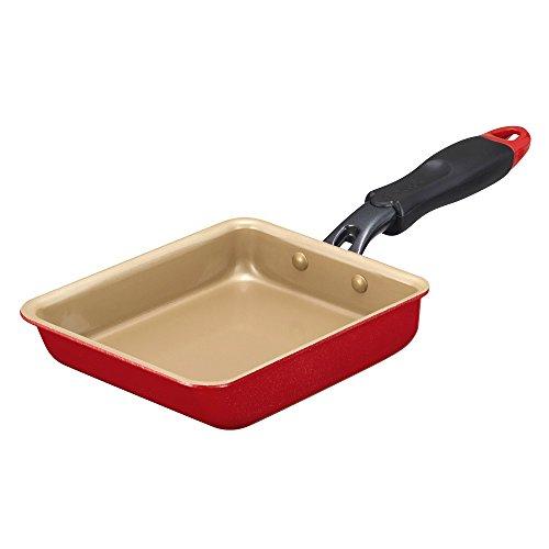 エバークック 卵焼き フライパン IH対応 13×18cm レッド 1年保証付き 固定ハンドル evercook EFPTK13RD