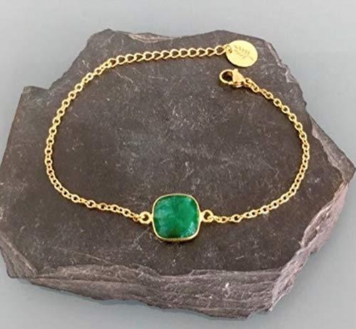 Bracelet émeraude, Bracelet femme gourmette pierre émeraude plaqué or 24 k, bracelet doré, idée cadeau, bracelet émeraude, bijoux cadeaux, bijou femme or