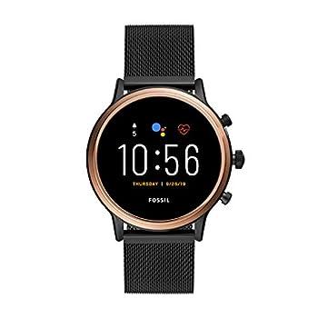 Fossil 44mm Gen 5 Julianna Stainless Steel Mesh Touchscreen Smart Watch Color  Rose Gold/Black  Model  FTW6036
