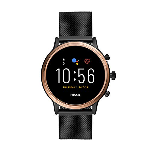 Fossil Unisex 44MM Gen 5 Julianna HR Heart Rate Stainless Steel Mesh Touchscreen Smart Watch, Color: Rose Gold/Black (Model: FTW6036)