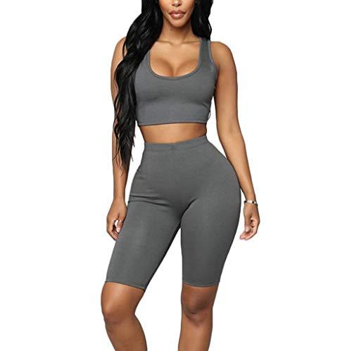 Loalirando Ensemble de Sport Femme Shorts + Crop-Top sans Manches Costume Yoga Fitness Gyms,Gris,XL