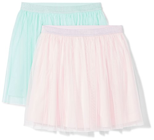 Amazon Brand - Spotted Zebra Girls' Little Kid 2-Pack Tutu Skirts, Pink/Mint Green, Small (6-7)