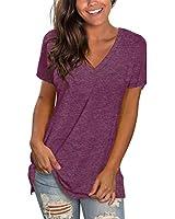 Sipaya Womens T Shirts Deep V Neck Short Sleeve Simple Basic Tops Summer Tees Fuchsia XL