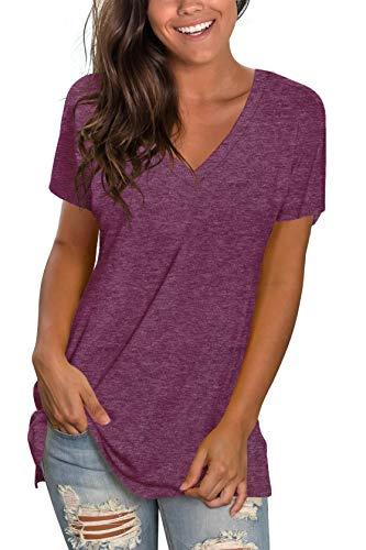 T Shirts for Women Summer Casual Plain Tees Vneck Short Sleeve Tunic Tops for Leggings Fuchsia L