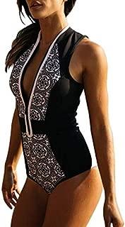 BEESCLOVER Vintage Swimwear One Piece Swimsuits for Women Zipper Front Deep V Neck Bodysuit 2018 Brazilian Beachwear Black Bathing Suits XL