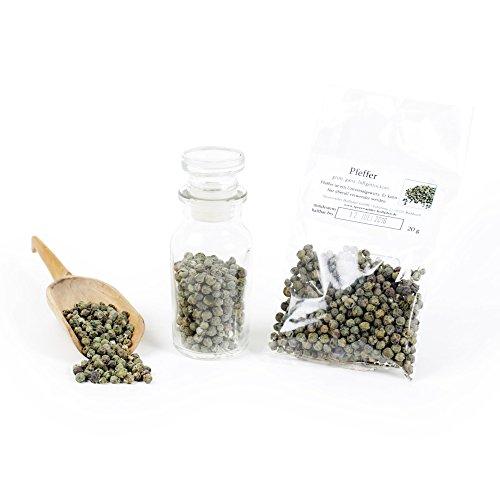 Pfeffer grün ganz, grüner Pfeffer ganz, Malabar Pfeffer Indien, Gourmetpfeffer, Premiumpfeffer luftgetrocknet, Naturgewürz, 20g