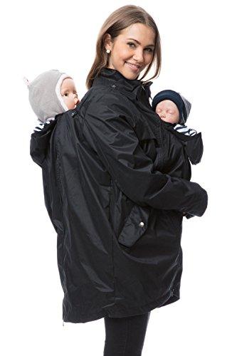 GoFuture Damen Tragejacke für Mama und Baby mit 2 Tragepositionen 5in1 Känguru aus Concordia Shell und Baumwolle Love Shelter GF2325XF in Schwarz mit Marine-weißen Streifen