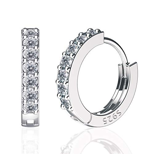 SWEETV 925 sterling silver small hoop earrings for women girls - Tiny small huggie hoop earrings cubic zirconia
