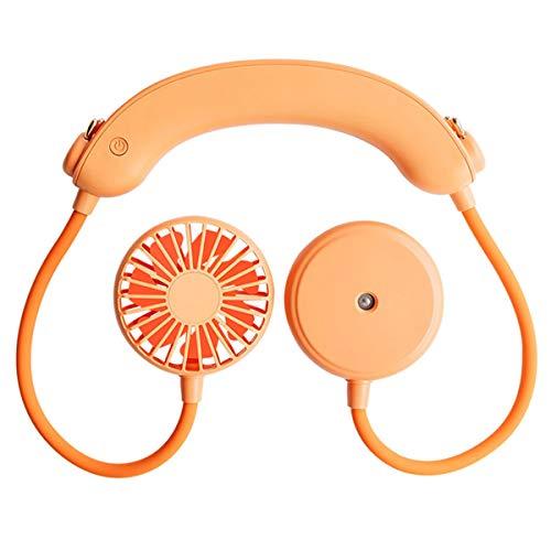 Yagosodee Ventilador de Banda para El Cuello Ajustable Ventilador de Enfriamiento Recargable USB Portátil para Oficina en Casa (Naranja)
