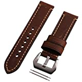 Correa de cuero auténtico marrón de 22mm con hebilla plateada para reloj de pulsera