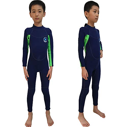 Realon Wetsuit Kids 2mm Boys Full Surfing Suit Children Swimwear Girls Snorkeling Diving Suits Toddler and Youth (2mm Navy Full, S)