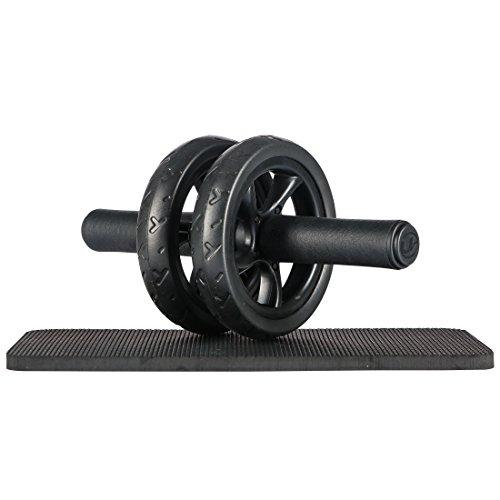 Ultrasport Trainer AB Wheel, Roller e Ruota per Addominali, Ottimo come Attrezzo per il Fitness, Supporto una Dieta Dimagrante, Doppie Rotelle e Base di Appoggio per le Ginocchia, Nero, Taglia Unica