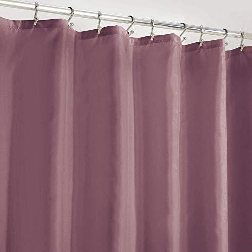 mDesign Cortina de baño antimoho – Práctica cortina para bañera y ducha de poliéster – Moderna cortina decorativa impermeable con 12 ojales reforzados y peso en el dobladillo – ciruela/lila