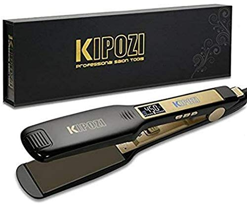 KIPOZI 1.75 Inch Titanium Flat Iron Professional Hair Straightener with Wide Plates for Long & Thick Hair Dual Voltage Instant Heating with Digital LCD Display Black