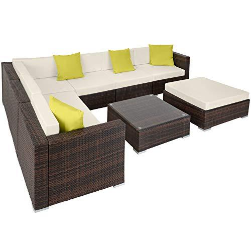 TecTake 800892 Aluminium Polyrattan Lounge Set, Sitzgruppe mit Tisch mit Glasplatte, für Garten und Terrasse, inkl. Kissen und Klemmen (Mixed...