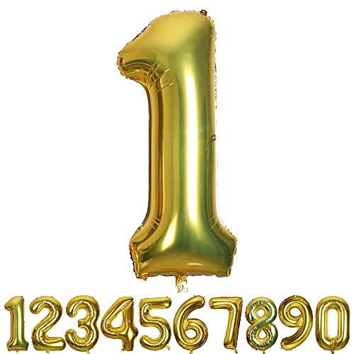 SMARCY Ballon Gonflable Chiffre 1 pour la Décoration d'anniversaire 1 an Doré