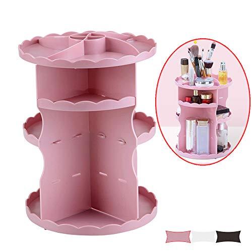 CZSM Organisateur de Maquillage Rotatif réglable à 360 ° pour constituer Une boîte de Stockage Présentoir combinable de Grande capacité pour cosmétiques, Bijoux, Produits de Toilette,Rose