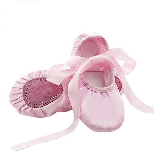 Ballettschuhe Mädchen Tanzschuhe Kinder Bequem Spitzenschuhe Mit Band -Pink 2-25 EU